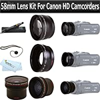 Essentials Lens Kit For Canon Vixia HF G20, HF G30, HF G40 HD Camcorder Includes .16x HD Super Wide Fisheye Lens + 2x Telephoto HD Lens + .45x Wide Angle Macro HD Lens + More