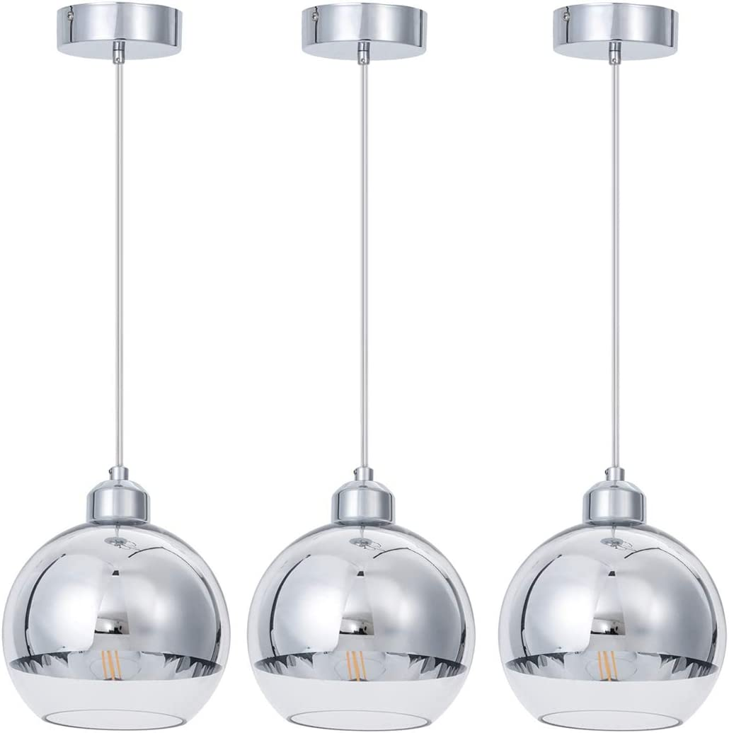 SHENGQINGTOP Modern Kitchen Pendant Light in Polished Chrome Finish with Hand Blown Glass Shape, 8 Mini Indoor Glass Globe Pendant Lighting Fixture for Kitchen Island Dining Room Counter Bar, 3 Pack