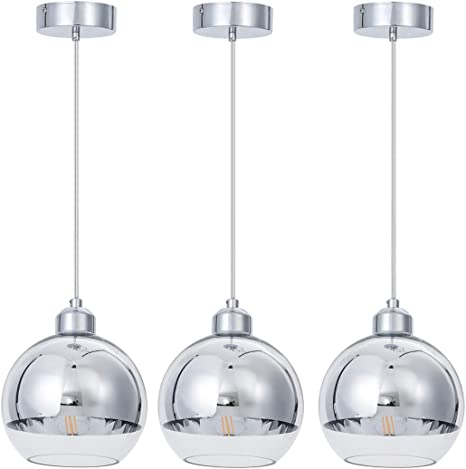 Shengqingtop Modern Kitchen Pendant Light In Polished Chrome Finish With Hand Blown Glass Shape 8 Mini Indoor Glass Globe Pendant Lighting Fixture For Kitchen Island Dining Room Counter Bar 3 Pack