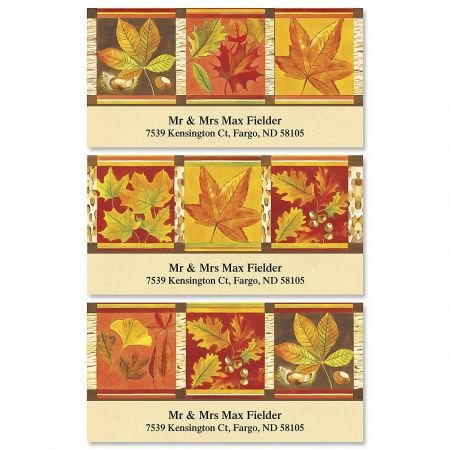 Fall Leaves Variety Address Labels (3 Designs) - Set of 144 1-1/8 x 2-1/4 Self-Adhesive, Flat-Sheet Thanksgiving labels