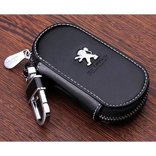 Étui en cuir de vachette pour clés de voiture, personnalisé, élégant, porte-clés pour Peugeot - Noir