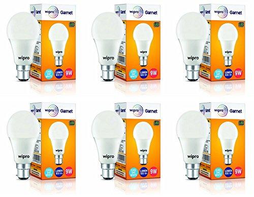 wipro 9W B22 LED Cool Day Light Bulb, Pack of 6, (Garnet)