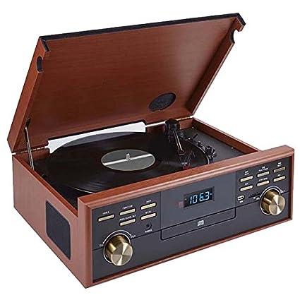 BigBen TD113 - Tocadiscos (Radio, CD, USB, Casetas, MP3), color marrón