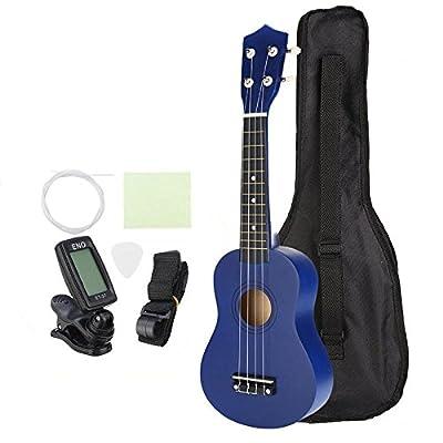 K&A Company 21 Inch Economic Soprano Ukulele Uke Musical Instrument with Gig Bag Strings Tuner Blue