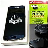 "Straight Talk Samsung galaxy S6 Edge 32GB ""Sapphire Black"" with wireless charging pad ,runs on AT&T's 4G LTE network via Straight Talk's 5GB unlimited plan"