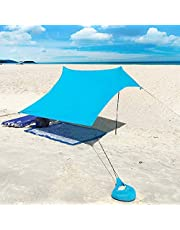 XISHUAI Beach Tent 4 person with sandbag anchors, Portable Lightweight 100% lycra SunShelter with UV protection Waterproof 85 x 85'' Canopy SunShade Camping Sun Shelter Awning Included Poles