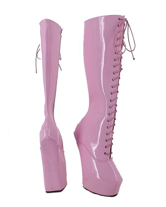 WONDERHEEL heelless Lack Pink Fetisch Schnürsenkel Langschaft Stiefel:  Amazon.de: Schuhe & Handtaschen
