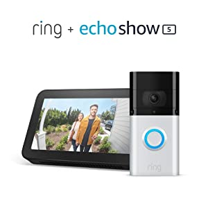 All-new Ring Video Doorbell 3 Plus with Echo Show 5 (Charcoal)