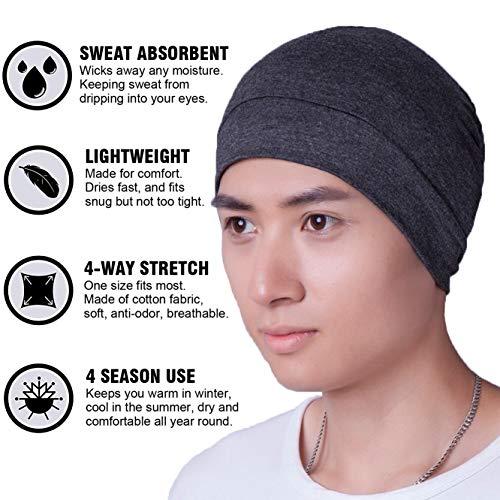 Headshion Skull Cap, Men & Women Multifunctional Headwear Bike Hard Hat Helmet Liner Cotton Beanie Sleep Caps - 2 Pack 2