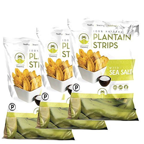 Artisan Tropic Plantain Strips, Sea Salt, Cooked in Sustainable Palm Oil, Paleo Certified, 1.75 Oz, (3 Pack)