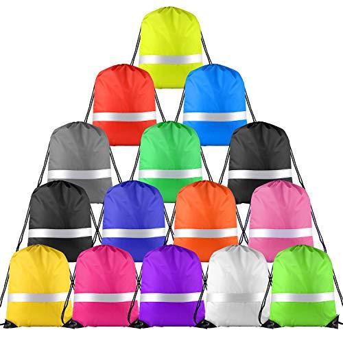 KUUQA 15 Pack Drawstring Backpack Bag with Reflective Strip, String Backpack Cinch Sack Backpack for Yoga Sport Gym Traveling