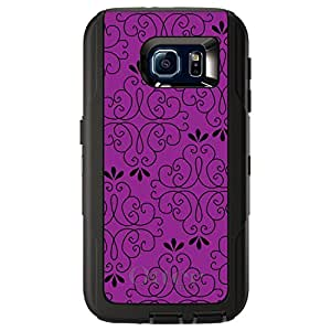 CUSTOM Black OtterBox Defender Series Case for Samsung Galaxy S6 - Fuchsia Black Floral Pattern