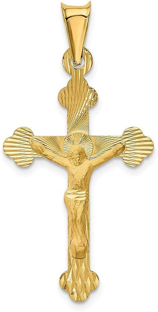 14k Yellow Gold Polished Satin and Diamond-cut Crucifix Pendant