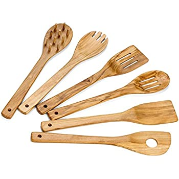 Handmade and Hand Carved By Bethlehem Artisans near the birthplace of Jesus Stir Spoon with Hole AramediA Wooden Cooking Utensil Olive Wood Risotto Spoon 12.5 x 2.5 x 0.3