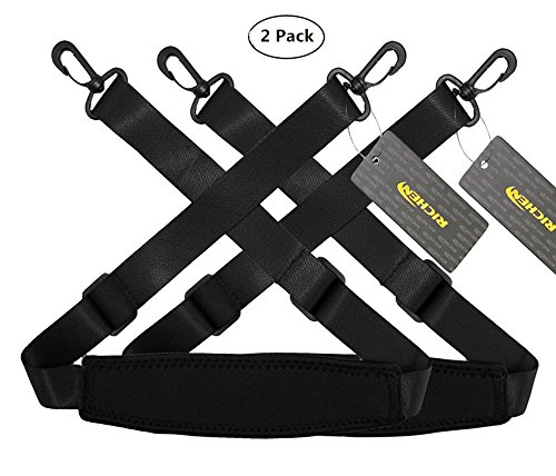 RICHEN Replacement Shoulder Strap Adjustable Luggage/Laptop/Camera Bag Strap with Swivel Hook,Pack of 2,Black (Replacement Strap Camera)