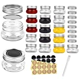 Mini Mason Jars Round 4 oz - Small Canning Glass Jars with Lids - 16 Pack Cute Jars with 40 Labels & Chalk Marker, Clear Containers for your Candy, Jelly, Overnight Oats, Yogurt, Honey & Baby Food