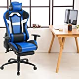 Tongli Video Game Chair Adjustable Height Computer Office Recliner Chair with Neck Pillow and Lumbar Support Blue & White With Footrest Pad