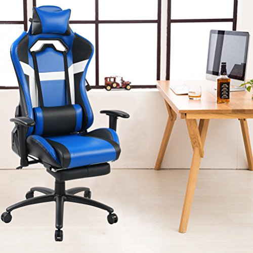 Tongli Video Game Chair Adjustable Height Computer Office Recliner Chair  With Neck Pillow And Lumbar Support