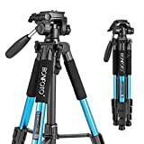 BONFOTO Q111 Camera Tripod 55-inch Compact Lightweight Travel Tripod for YouTube Phone Live Broadcast Live Chat Projector Gopro and DSLR Canon EOS Nikon Sony Samsung(Blue)