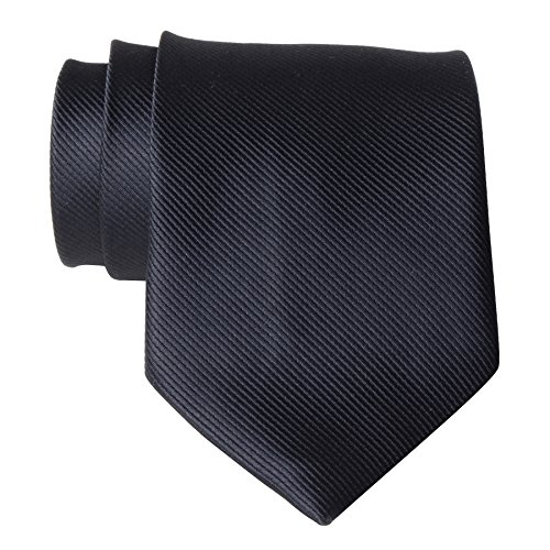 QBSM Mens Black Solid Color Neckties Formal Dress Suit Neck Ties (Tie Formal Black)