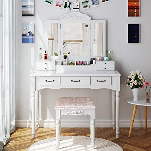HOMECHO Makeup Vanity Table Set with Cushioned Stool Tri-Folding Mirror 7 Drawers and Makeup Storage Organizer Dressing Table for Bedroom White, HMC-MD-011