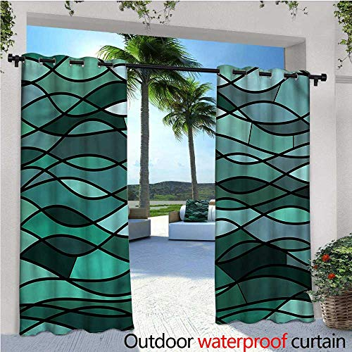 (warmfamily Teal Indoor/Outdoor Single Panel Print Window Curtain Mosaic Sea Waves Inspired Silver Grommet Top Drape W84 x)