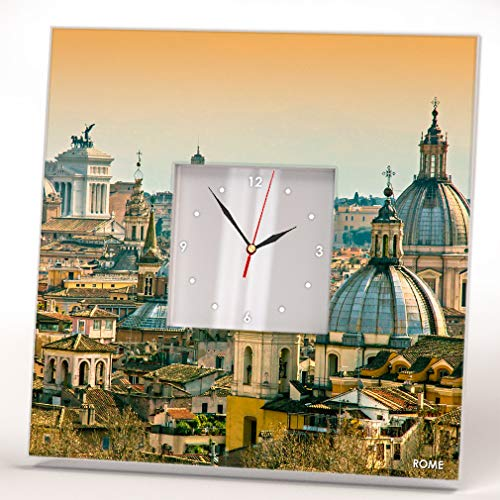 Rome Skyline Downtown Top View Roma Italy Wall Clock Framed Mirror Printed Decor Home Design Gift ()