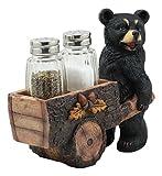 Ebros Woodlands Spice Delivery Black Bear Pushing Vintage Wagon Cart Salt And Pepper Shakers Holder Figurine Set