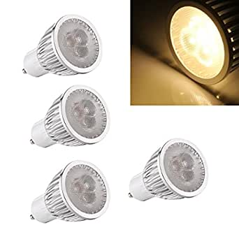 4 X GU10 Bombilla Luz 3 LED 6W Regulable Alta Potencia Blanco Cálido