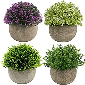 Ogrmar 4PCS Mini Plastic Artificial Plants Grass in Pot/Small Artificial Faux Greenery/Mini Plants Topiary Shrubs Fake Plants for Bathroom, House Decorations 14