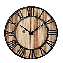 Timelike Large Decorative Rustic Wall Clock Vintage Bronze Metal and Solid Wood Oversized Wall Clock with Silence Non-Ticking Movement (40cm)