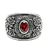 Anazoz S925 Sterling Silver Retro Style Punk Flower Red Cubic Zirconia Rings Unisex Size 9.5