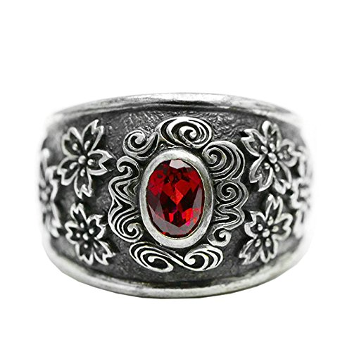 Beydodo Mens Silver Ring, Sakura Red Gemstone Ring Size 7.5 Silver Ring for Men Hip Hop by Beydodo