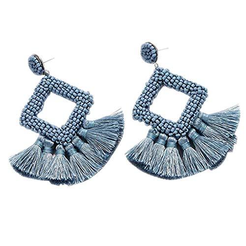 Statement Drop Earrings Bohemian Beaded Round Handmade Hoop Tassel Earrings Women Girls Jewelry Mother's Day (Light Blue)