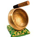 Tibetan Singing Bowl Set By YAK THERAPY- Chakras Healing & Meditation Yoga Sound Bowl with Mallet, Silk Cushion, & Silk Bag, 4.5