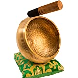 """Tibetan Singing Bowl Set By YAK THERAPY- Chakras Healing & Meditation Yoga Sound Bowl with Mallet, Silk Cushion, Silk Bag, 4.5"""" Tibetan Bell, Buddhist Bowl Made in Nepal includes Gift Ebook by Email"""