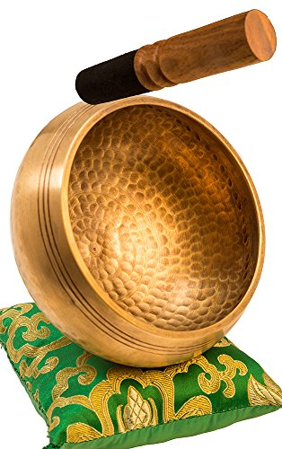 Tibetan Singing Bowl Set By YAK THERAPY- Chakras Healing & Meditation Yoga Sound Bowl with Mallet, Silk Cushion, Silk Bag, 4.5