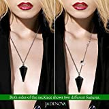JADENOVA Pendulum Crystal Necklace Natural Obsidian