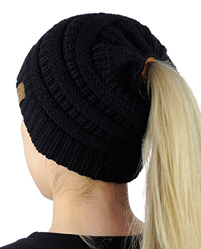 C.C BeanieTail Soft Stretch Cable Knit Messy High Bun Ponytail Beanie Hat, Black
