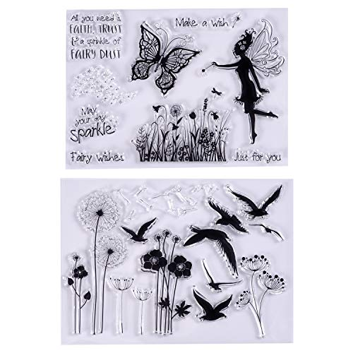MaGuo Clear Stamps Wild Goose, Dandelion, Butterfly, Flower Fairy for Card Making Decoration and DIY -