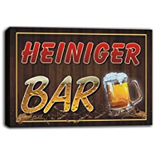 scw3-060460 HEINIGER Name Home Bar Pub Beer Mugs Stretched Canvas Print Sign