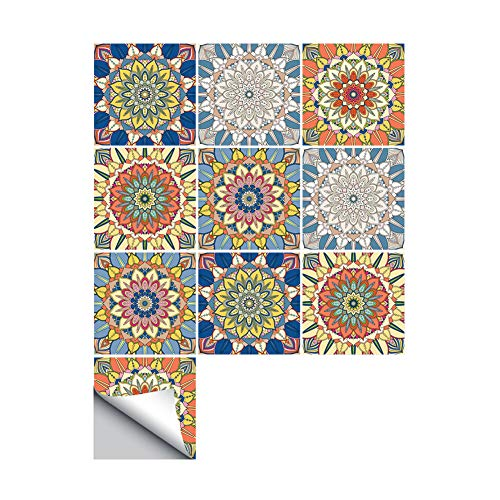 AmazingWall Mix Flower Wall Sticker Tile Furniture Kitchen 7.87x7.87 10 Pcs/Set (Indian Wallpaper)