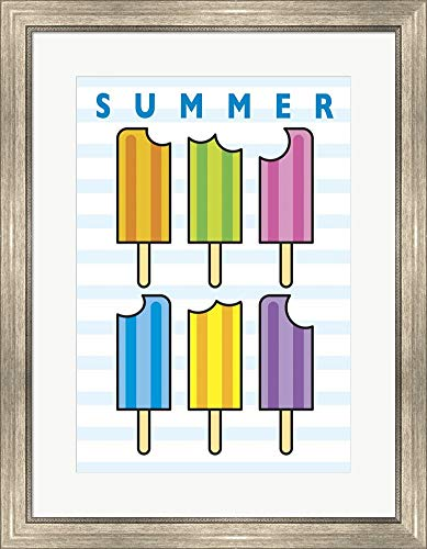 SummerFlag Popsicle Bites 4 by Jerry Gonzalez Framed Art Print Wall Picture, Silver Scoop Frame, 24 x 30 inches ()