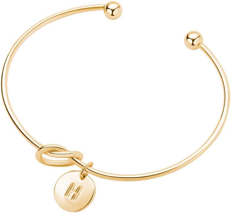 Ajustable Tonpot Fashion Femmes Bracelet Ouvert 26 Alphabet Simple Design pour Femmes Filles Amoureux Cadeau Anniversaire Anniversaire Or Alliage a