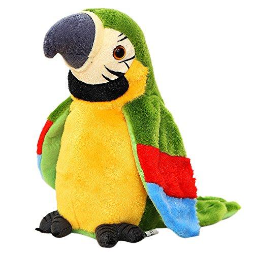 callm Adorable Speak Talking Record Repeats Waving Wings Cute Parrot Stuffed Plush Toy (Green)