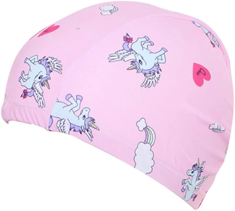 Unicorn Swimming Hats Bathing Cap Care Ear Protection Elastic with Coating Unicorn Pattern for Boys Girls Age 6-10 Kaliya Kids Swimming Cap