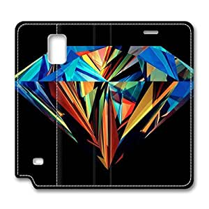 Brain114 Fashion Style Case Design Flip Folio PU Leather Cover Standup Cover Case with Colorful Diamond Pattern Skin for Samsung Galaxy Note 4
