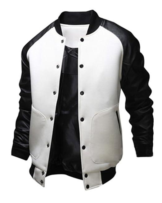 891176c1f0ff69 Uomo Giacca College Jacket Caldo Cappotto Outwear Slim Fit Casual Giubbotto  Giaccone: Amazon.it: Abbigliamento
