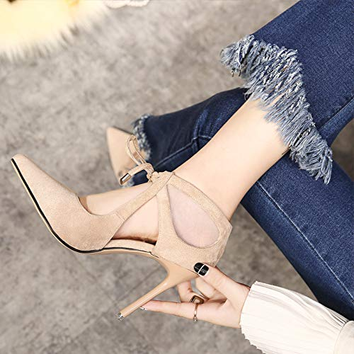 Spring Shoes Heads Bandages And Seven Sharp Shoes Women'S Thin Little Shallow Shoes Women'S Summer 10Cm High KPHY Thirty Fashionable Banquet Shoes Single Heels Heel Beige qxznpT8aw