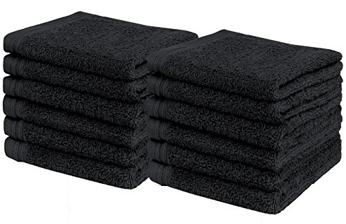 Weidemans Premium 12 Pieces Towel Set Including 12 Exclusive Washcloths Towels|Fingertip Towels 13 X 13 - Color: Black 100% Cotton |Machine Washable high Absorbency